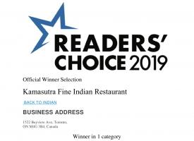 Toronto Star Readers Choice Winner Award 2019
